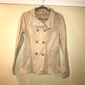 H&M tan shirt trench coat/ spring jacket size 10